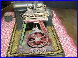 Antique Bing Steam Engine Germany Tin Lithography Twin Flywheel, Base 7.75 x 6