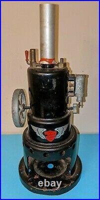 C1940s ROBERT FULTON LINE VERTICAL BOILER MODEL TIN LIVE STEAM ENGINE