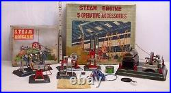 Linemar Steam Engine With 5 Operating Accessory Tools Tin Toy Set Boxed