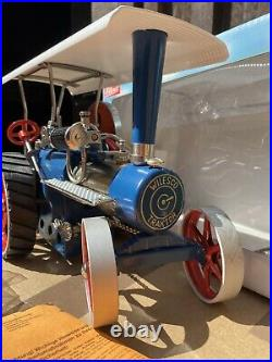 Live Steam Wilesco D405 Traction Engine Blue/ Silver Model Toy Boxed