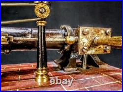Old Antique Early 1890s Cast Iron Vintage Steam Engine Model hit miss motor toy