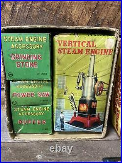 VINTAGE SUPER COOL MARX VERTICAL STEAM ENGINE WithTHREE OPERATIVE ACCESSORIES OB