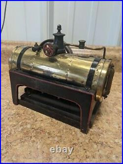Vintage Gebruder Bing Werke BW Steam Engine Cast Iron Base Brass Needs Repaired
