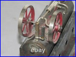 Vintage Josef Falk Live Steam Engine Twin Flywheel Toy original paint RARE