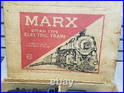 Vintage Marx Toy Train 1960's Steam Engine Antique cars O Guage Antique Set